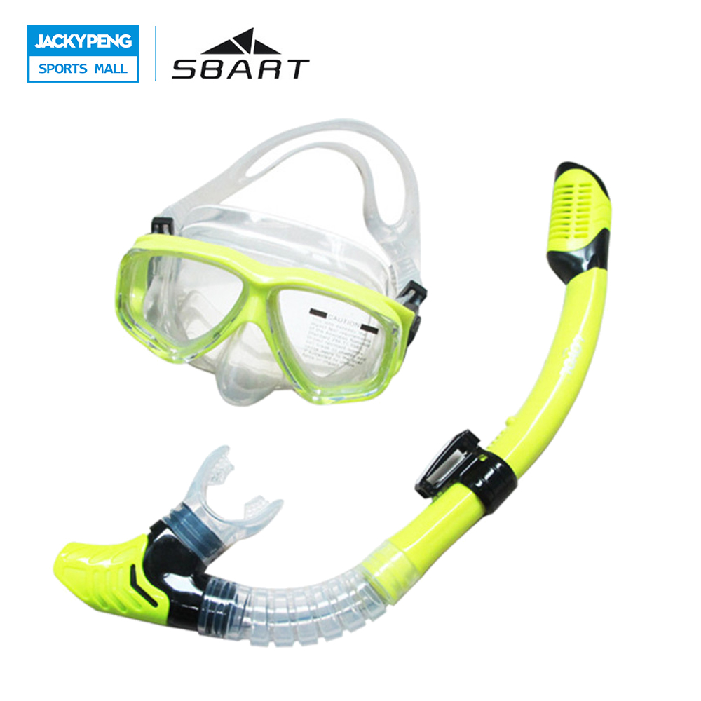 SBART Swimming Glasses Snorkel Mask Water Sports Training Equipment Anti-Fog Silicone Scuba Diving Mask Full-dry Snorkel