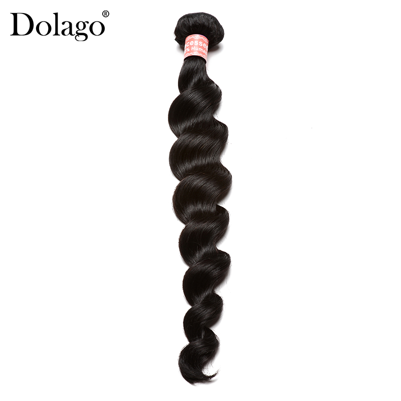 Loose Wave Bundles Peruvian Virgin Hair 100% Human Hair Weave Bundles Naturlig Sort Farve 1 Piece Dolago Hair Products