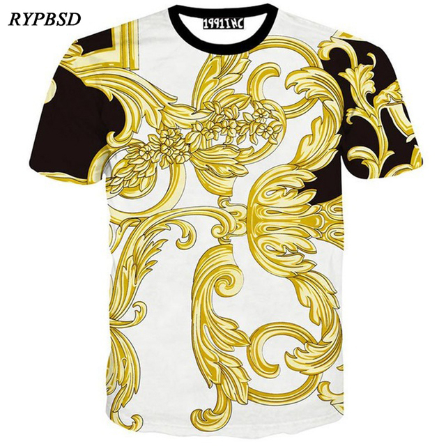 b76ebf7a Luxury Brand Design 3D Printed Gold Palace Flower T-shirt Men 2019 Summer  Breathable Short Sleeve Harajuku Swag tee shirts Tops