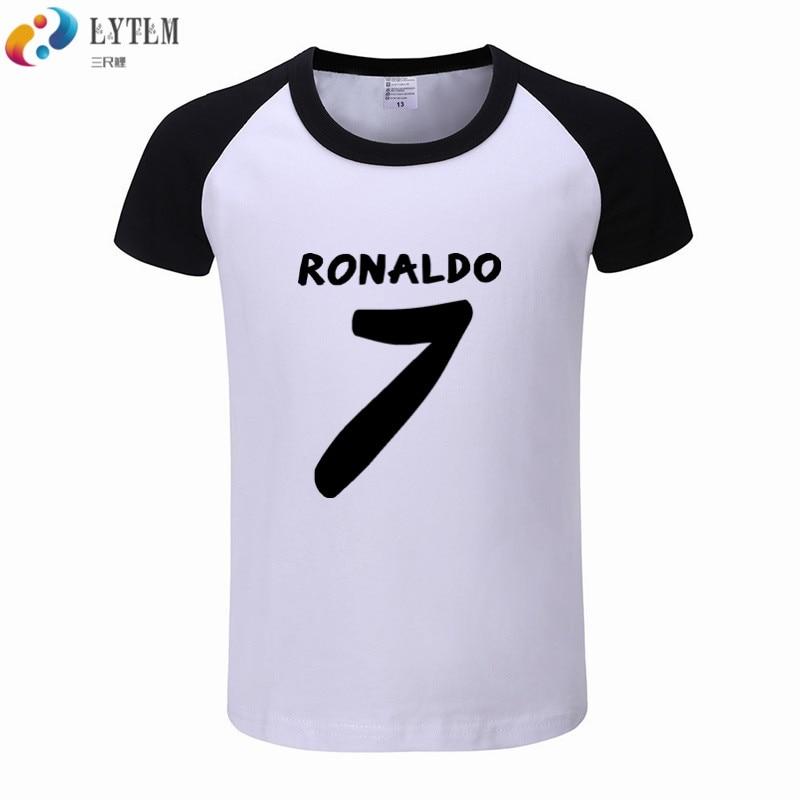 wholesale dealer 4c61e e5a8a US $5.49 40% OFF|LYTLM New Arrival 2019 Shirt Ronaldo Kids Summer Tops  Toddler Kids Baby Boys Girls Clothes Short Sleeve T Shirt Boys Patchwork-in  ...