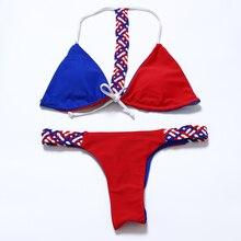 2016 Sexy Brazilian Bikini Reversible Tails Swimwear Women Strappy Halter weave knit Swimsuit Bathing Suit Thong