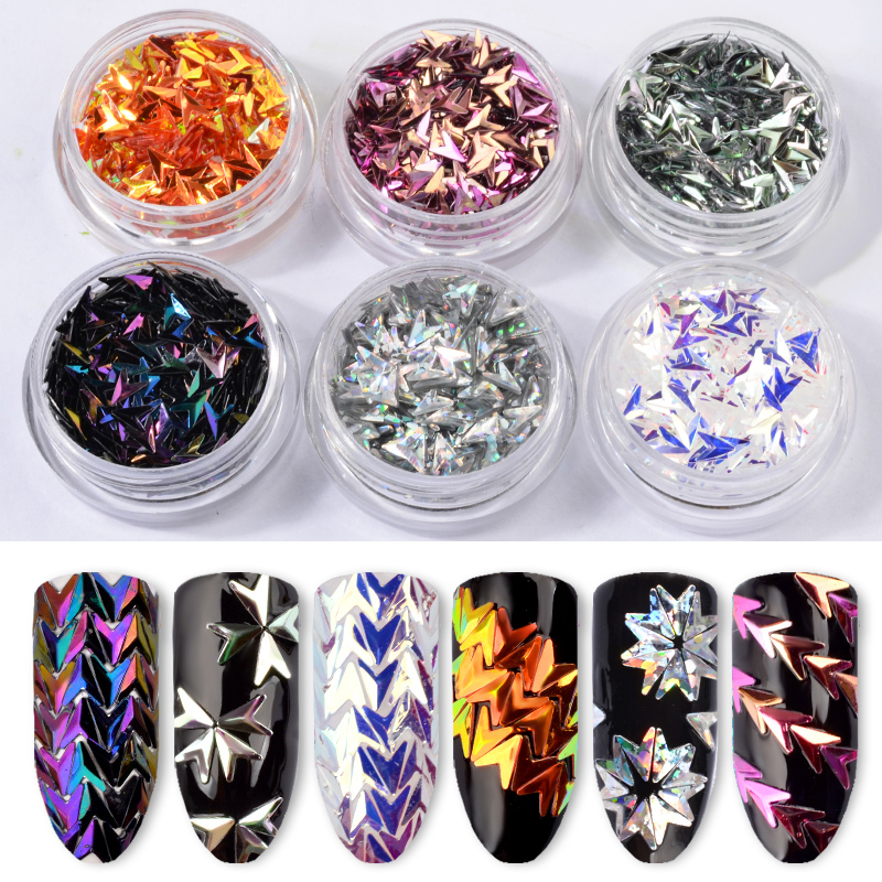 6Pcs/Set Laser Arrow Nail Glitter Sequins 3D Colorful