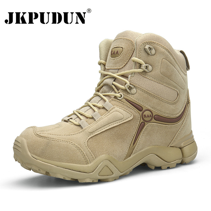 JKPUDUN Winter Men Military Boots Quality Special Force Tactical Desert Combat Ankle Boats US Army Work Shoes Leather Snow Boots winter autumn men quality brand military leather boots special force tactical desert combat boats outdoor shoes snow boots