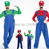 5 In 1set Top Pants Hat Glove Beard Funy Adult Kid Cosplay Costume Super Mario Luigi