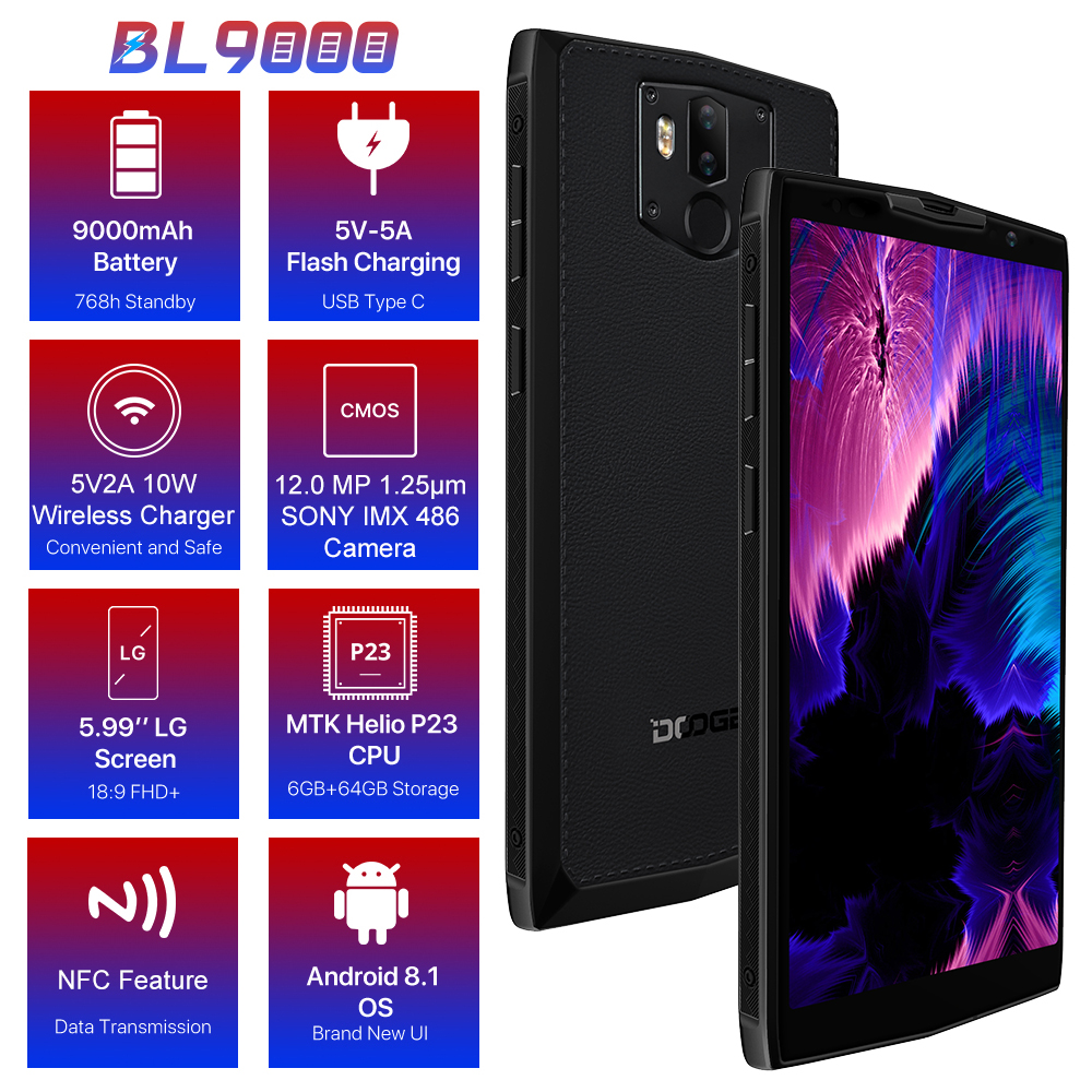 DOOGEE BL9000 Smartphone 5V5A Flash Charge 9000mAh Wireless Charge 6GB 64GB Helio P23 Octa Core 5.99\