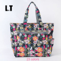 2017 Lady Nylon Bag Flower Print Waterproof Oversized Overnight Weekend Diaper Changing Handbags Shopping Beach Travel Big Tote