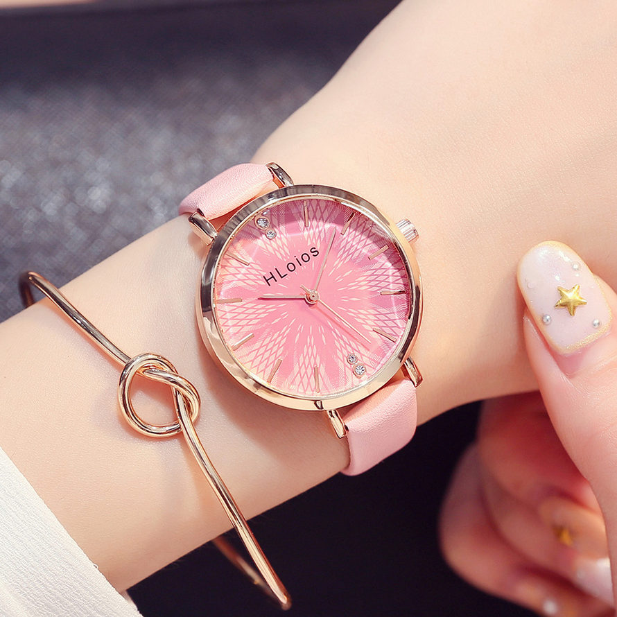 New Fashion ladies wrist watch women luxury brand Pink flower quartz watches 2018 casual dress wristwatch female clock reloj duoya fashion luxury women gold watches casual bracelet wristwatch fabric rhinestone strap quartz ladies wrist watch clock
