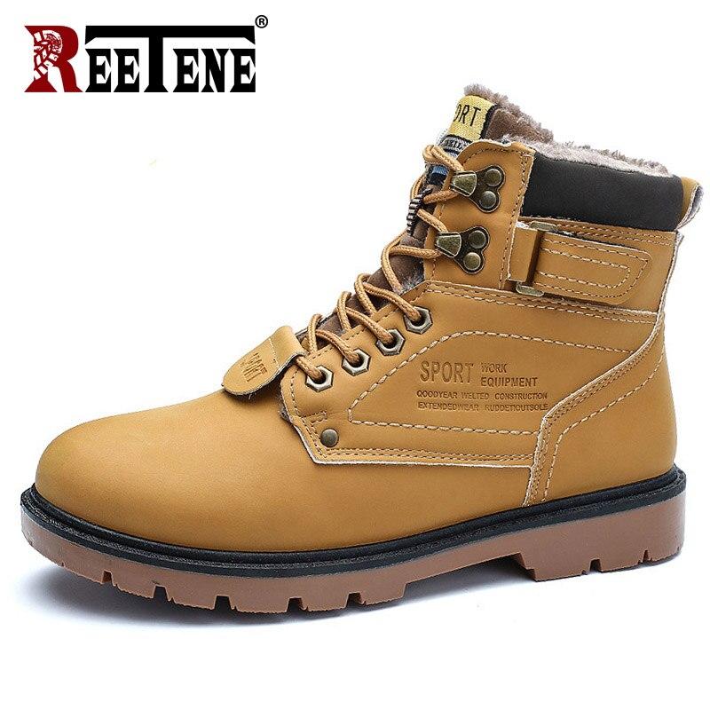 REETENE Winter Men's Boots Combat Men's Ankle Boots Warm Fur Snow Boots Men Leather Waterproof Super Warm Casual Men's Shoes