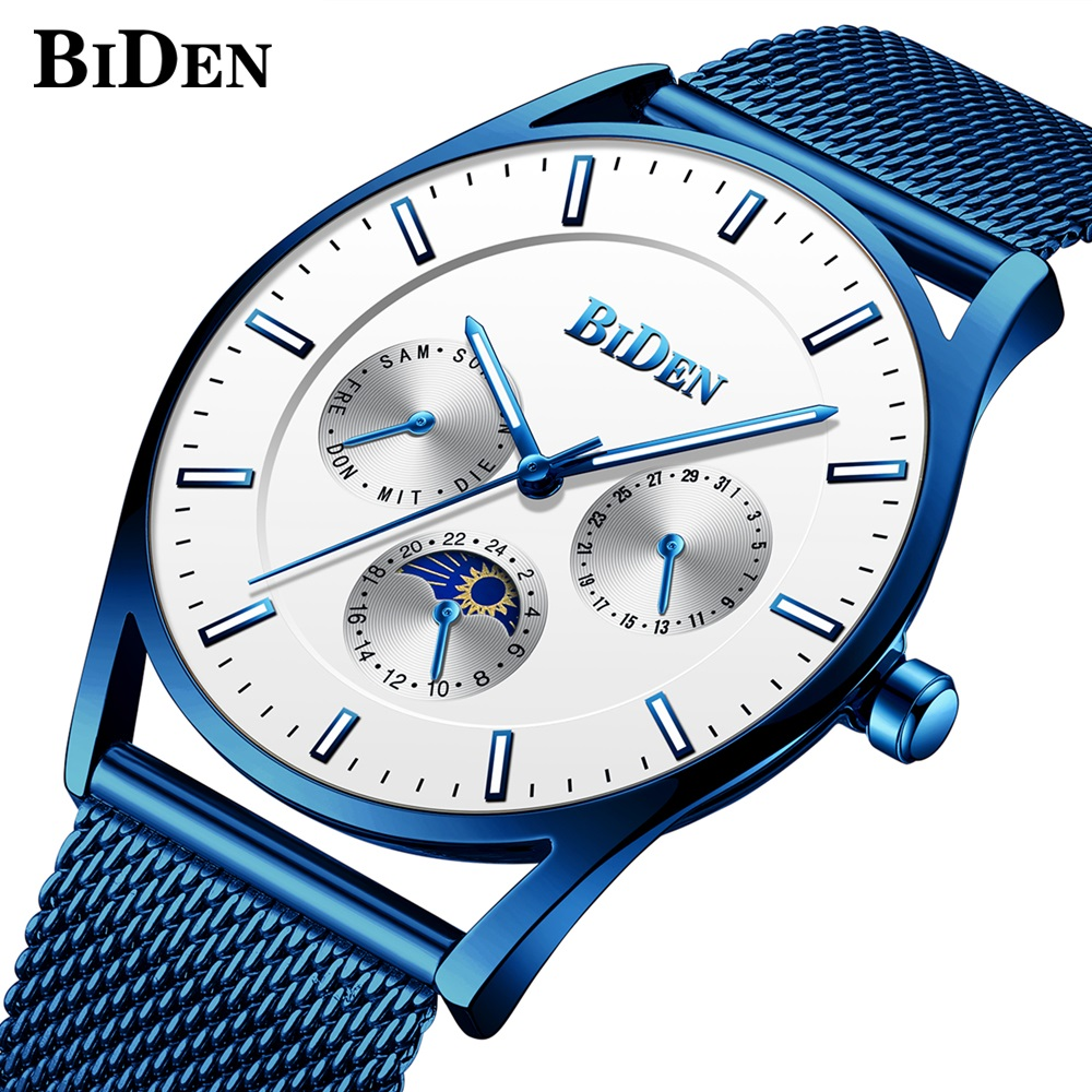 Brand Men's Watches blue Stainless Steel Band Net Belt Analog Sport Quartz Wristwatch Ultra Thin Dial Luxury date week Watch Men biden men s watches new luxury brand watch men fashion sports quartz watch stainless steel mesh strap ultra thin dial date clock