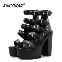 KNCOKAR Gladiator Sandals Women Shoes High Heels Sexy Rivets 2019 New Summer Shoes Female For Party Platform Heels