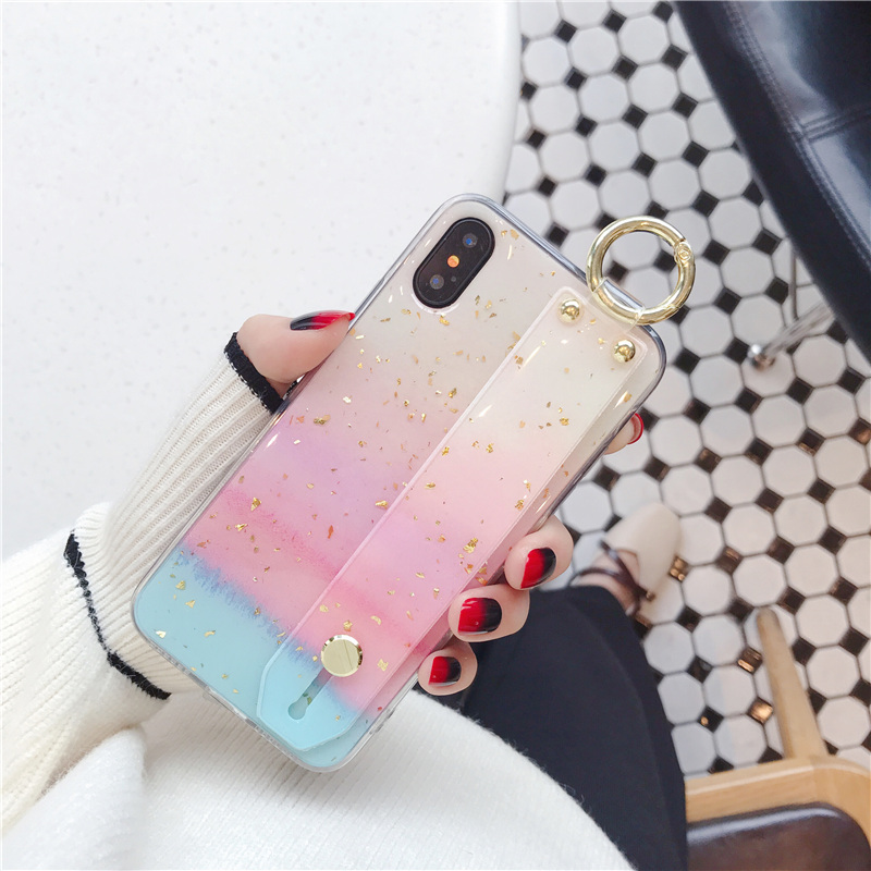 8 SoCouple Wrist Strap Soft TPU Phone Case For iphone 7 8 6 6s plus Case For iphone X Xs max XR  Marble Gold Foil Holder Case