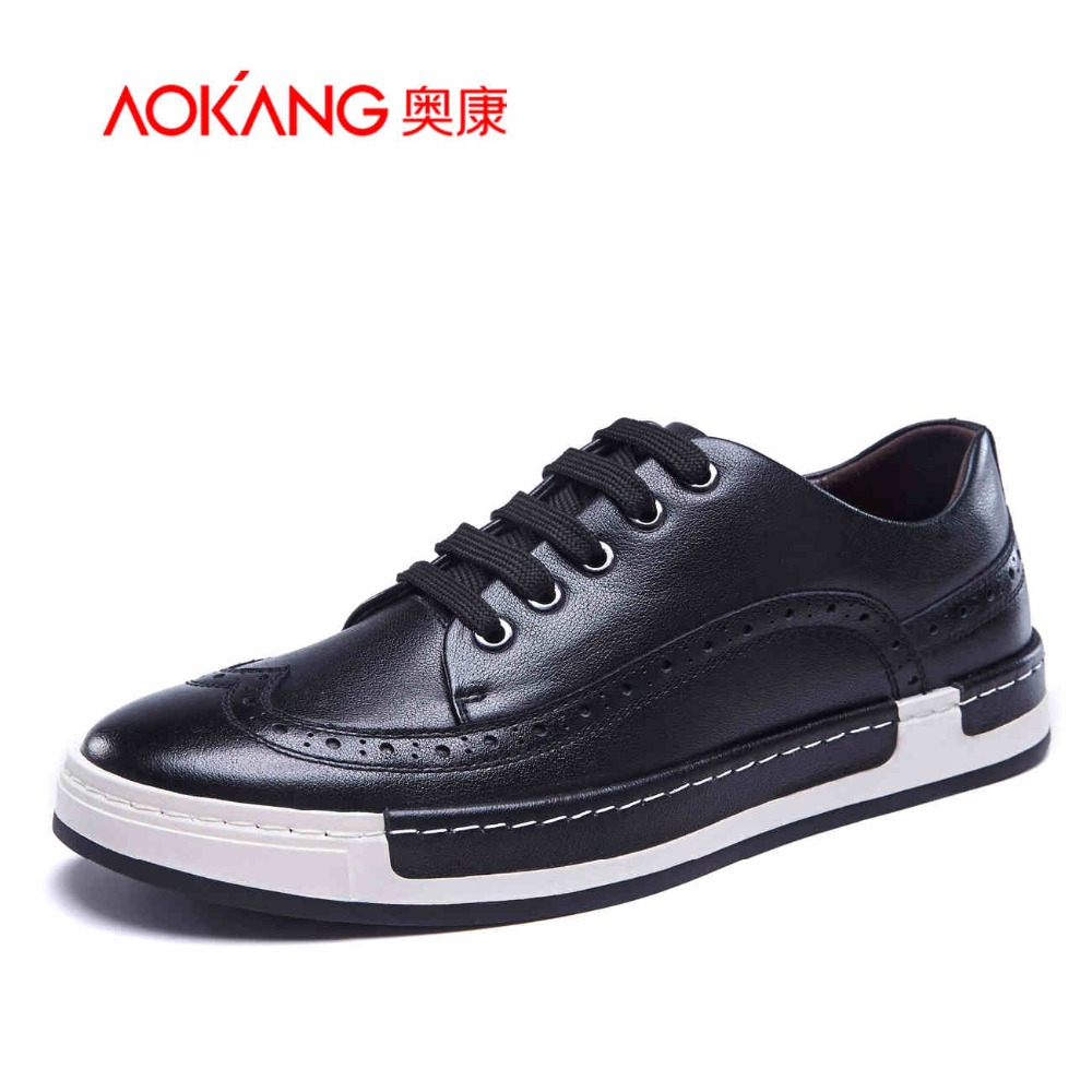 AOKANG 2017 New Arrival men s casual shoes men genuine leather shoes brogue shoes men s