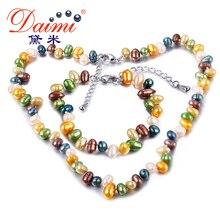 Daimi 2017 recién llegado de 5-6mm perlas de agua dulce de la joyería fija el collar y pulsera y pendientes regalo para la novia