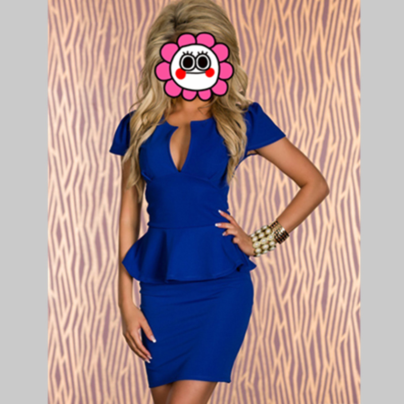 Top Quality Plus size 2 PCS Ruffles Women Lady Sexy Fashion V-neck OL Peplum Dress Bodycon Dresses Black Blue Pink White Dress