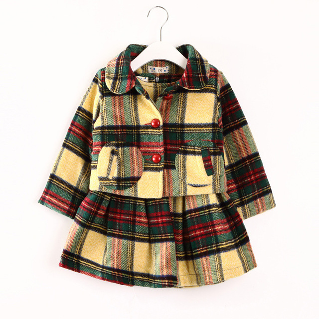korean children clothing 2017 winter kids winter clothes top single breasted turn down wool jackets+plaid dress girl clothes set