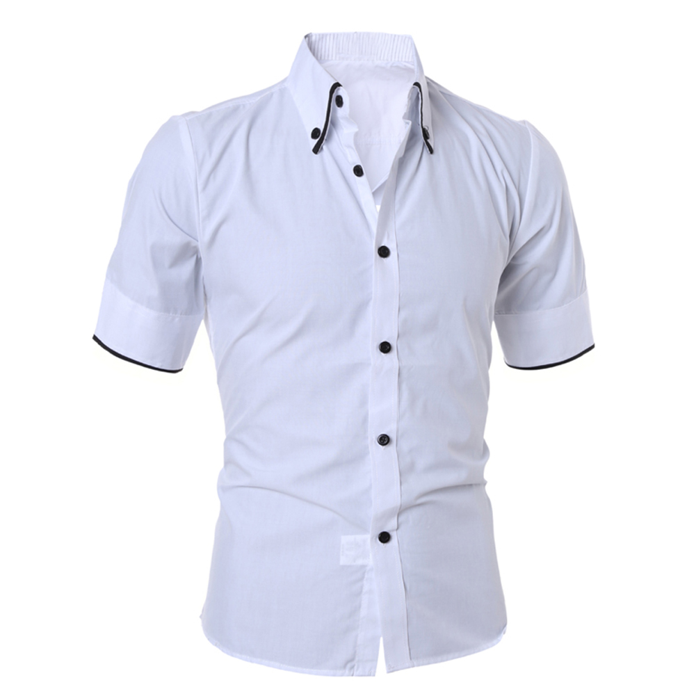 Mens Shirt Summer Male Slim Solid Color Slim Fit Stylish Cotton