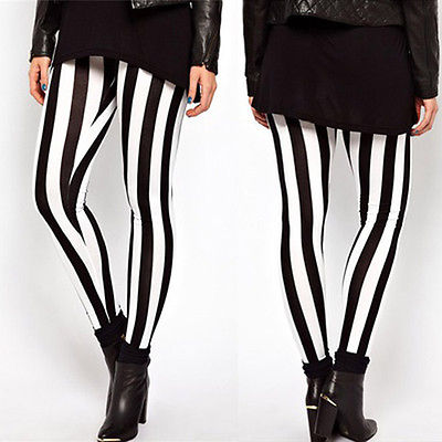 <font><b>2018</b></font> Hot <font><b>Sexy</b></font> Leggings Plus Size <font><b>Women</b></font> Casual Black White Stripes Stretch Leggings Long <font><b>Pants</b></font> image