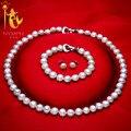 [NINFA] Genuino Barroco Perla jewery conjuntos collar pendientes pulsera de perlas de agua dulce naturales 8-9mm de joyería fina [t1010]