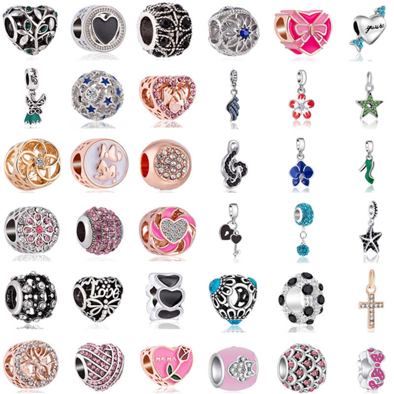 Luxurious Crystal Love Heart Bow Wing Star Cross Charm Beads Fit Original Pandora Bracelets & Bangles for Women DIY Jewelry