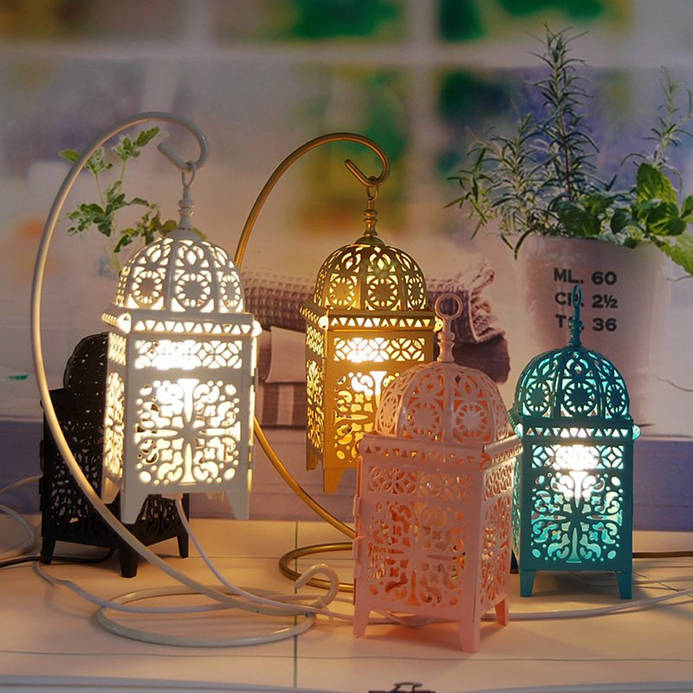 Moroccan Bedsides Table Lights Metal Hollow Out Square Box