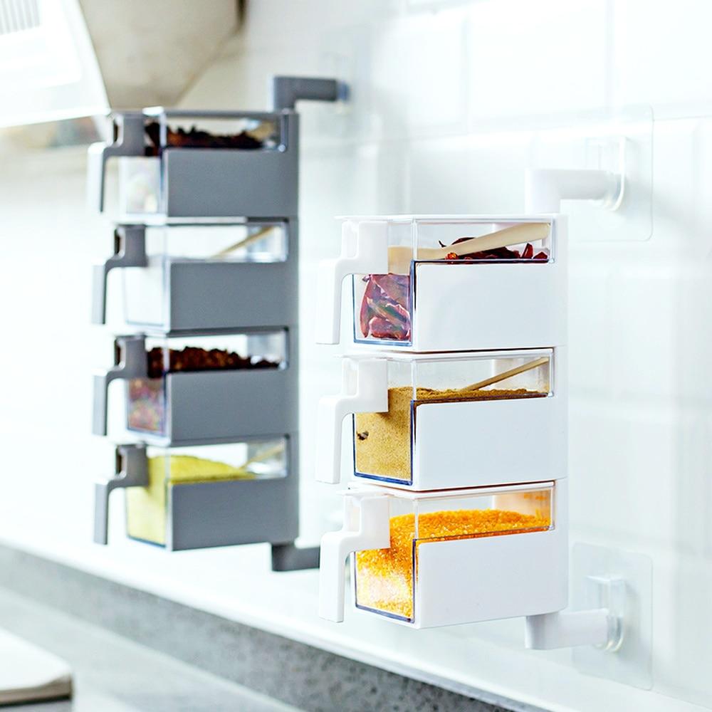 Kitchen Supplies Salt Cans Wall Hanging Free Punch Household Seasoning Jars Bottle Storage Box Spice Box Set LM01241848