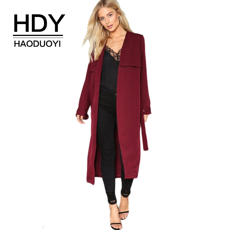 HDY Haoduoyi 2017 Autumn Open Stitch Solid Burgundy Women   Trench   Coat Long Line Back Split Female Outwear Adjustable Waist Coats