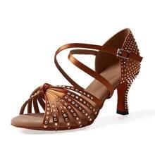 Women Ballroom Latin Dance Shoes Black Brown Salsa Tango Bachata Dance Shoes Heel 7.5cm Suede Sole VA45
