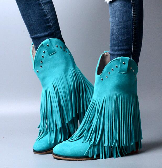 Winter New High Quality Women Blue Brown Gray Genuine Leather 6 cm Heels Round Toe Rivets Tassels Fringed Mid-calf Short Boots fancy women brown suede flowing fringe stiletto heels mid calf boots round toe platform tassel side zip long boots new design