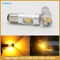 T25 1156 1157 P21W PY21W P21/5 W Luz Traseira Sinal de volta High Power 21SMD 2835 Amarelo/Vermelho/White LED Projector Len Car Styling