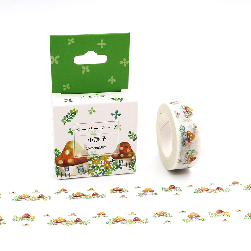 15mm*10m Box Package Kawaii Mushroom House Washi Tape Excellent Quality Colorful Paper Masking Tape DIY Decorative Tapes