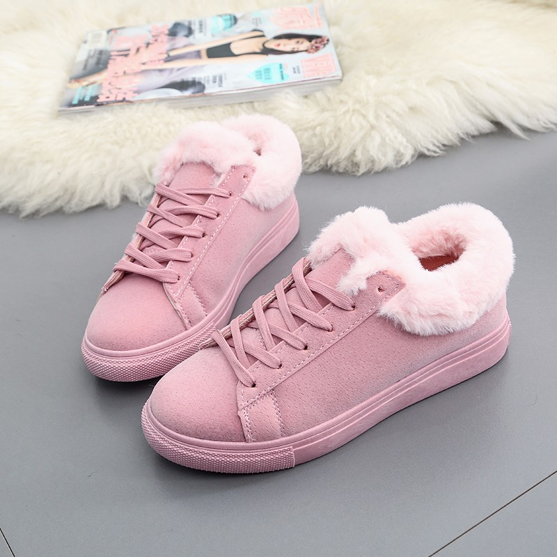 Women Flats For Winter Plush Warm Shoes Casual Flat Heels Lace Up Ladies Shoes Size 35-40 Black Gay Pink Fashion Fur Shoes NX5 (24)