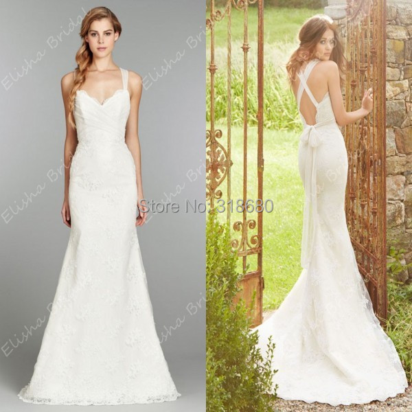 06d785f60a Spaghetti Straps V Neck Simple Lace Country Wedding Dress 2015 Cross Back  Vintage Bridal Gown