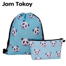 Jom Tokoy 2019 New fashion 2 PCS Heat Transfer Printing Women backpack panda Drawstring bag Set Combination(China)
