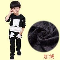 Los niños pequeños ropa de invierno historieta del bebé del juego directamente cuffless Pantalones puro algodón bebé Bordado niños 2 unidades niños