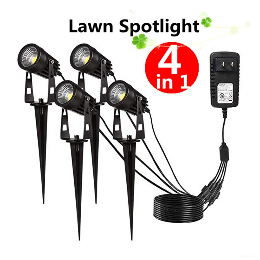 New Style COB Garden Lawn Lamp Lights 4 in 1 COB LED Outdoor Landscape Spot Flood Light AC85-265V Waterproof for Lawn Pathway