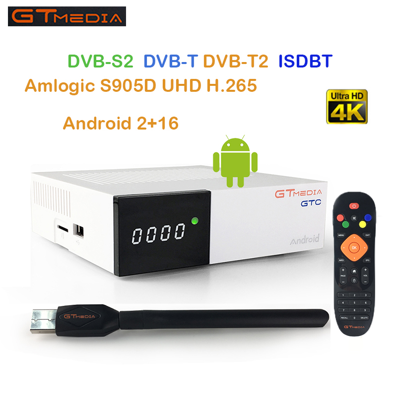 GT Media GTC Satellite TV Receiver DVB-S2/C/T2/ISDB-T Android 6.0 2GB 16GB Smart TV Box Amlogic S905D BT4.0 FREE SAT freesat 5pcs free sat ota freesat gtc s905d android 6 0 tv box dvb s2 t2 cable isdb t digital satellite receiver combo