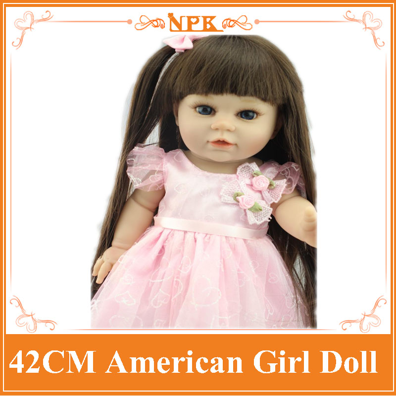 About 42cm Sweet American Girl Doll With Straight Long Hair In Refined Quality Summer Dress Reborn Bonecas For Kids Brinquedos new arrival 18inch doll npk american sweet girl with curly long hair in floral skirt dress bonecas bebe kids gift brinquedos
