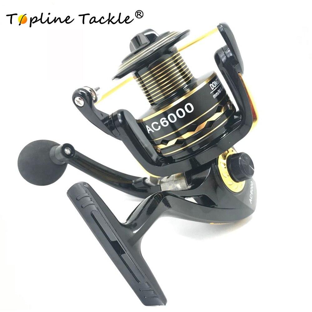 Topline Tackle Fishing Spinning Reel Aluminum 1000 6000 Bearing Wheel Max Drag Stainless Steel Handle Line Spool Saltwater Fish