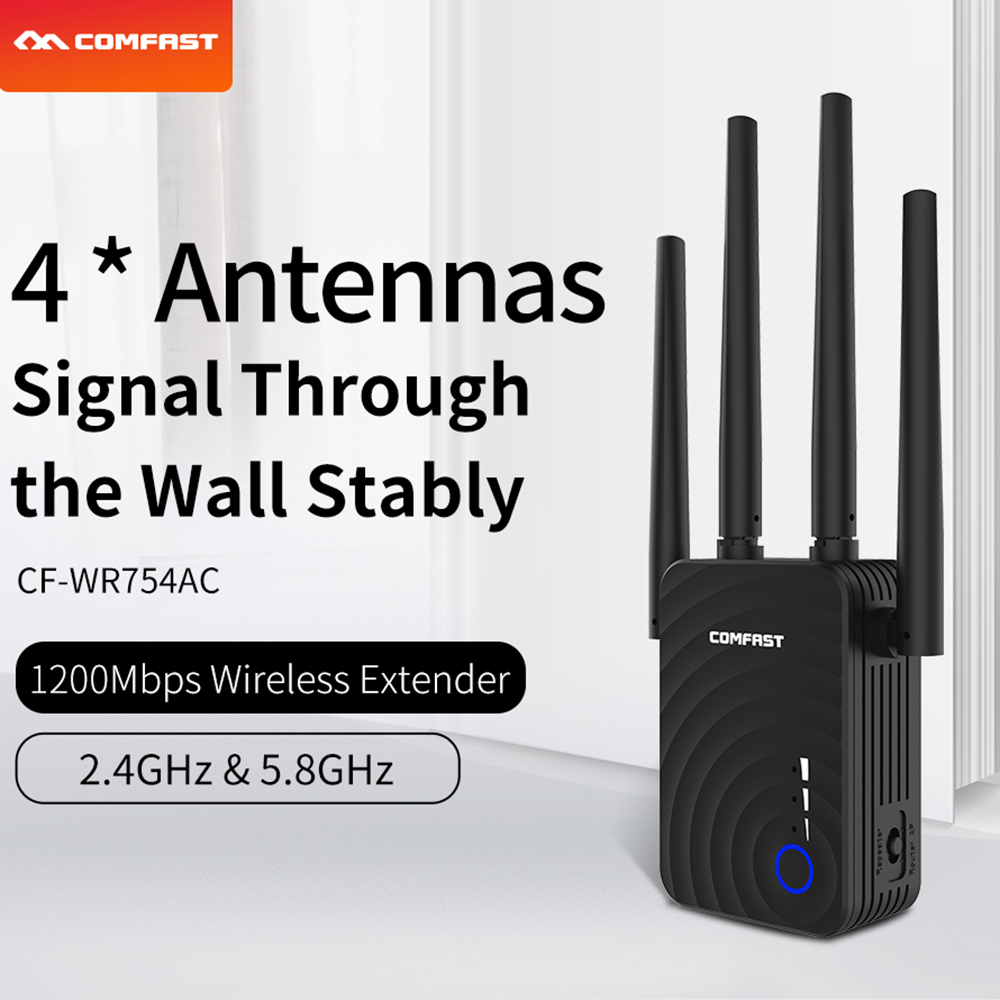 1200Mbps COMFAST Wifi extender Wifi répéteur routeur 2.4 & 5.8Ghz double bande 4 Wifi antenne amplificateur de Signal longue portée