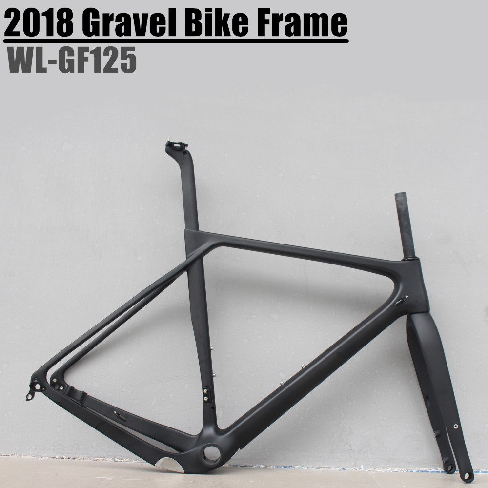 2018 Gravel Bike Frame Disc Brake Full Carbon Gravel Bicycle Frame 700*40c 142*12 Size S/M/L/XL Cyclocross Road Bike Frameset