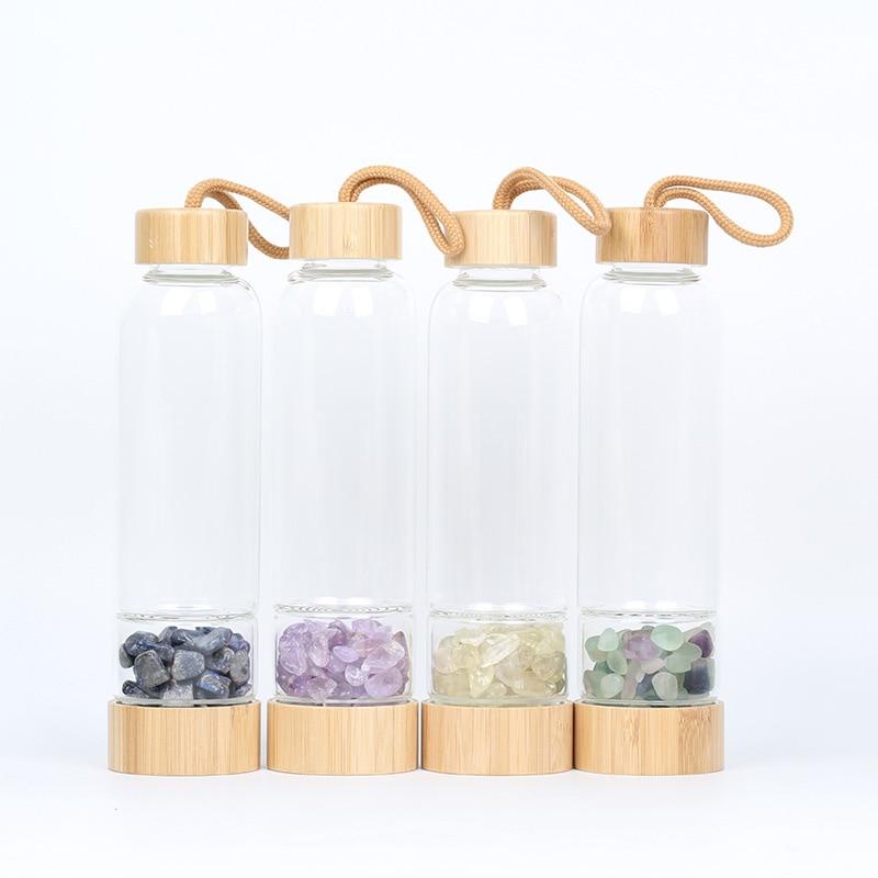 Natrual Crystal Water Bottle Gemstone bamboo Stone crystal glass bottle Gravel Irregularity stone Drink Water Bottle glass bottle