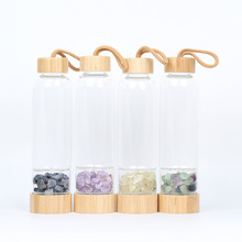 Natrual Crystal Water Bottle Gemstone bamboo Stone crystal glass bottle Gravel Irregularity stone Drink