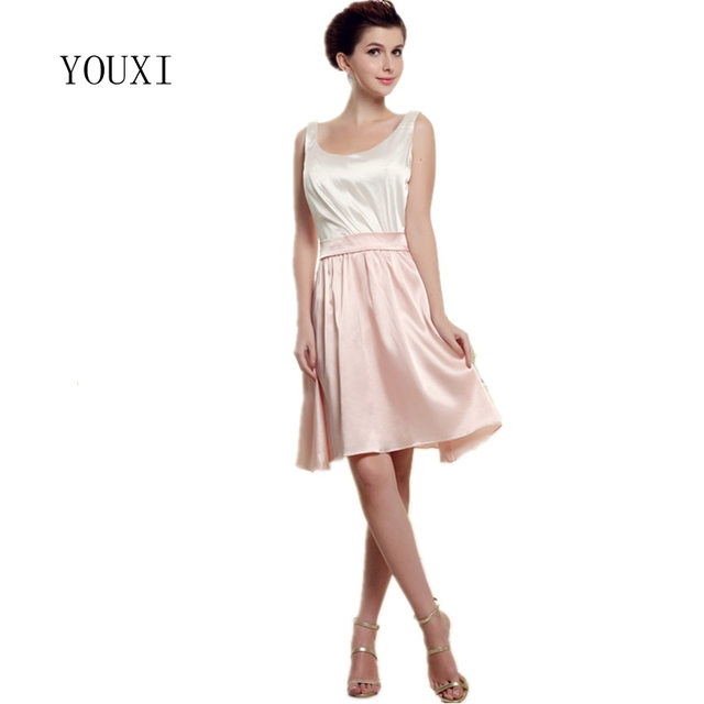 Elegant Knee Length Pink And Ivory Mother Of The Bride Dresses 2019