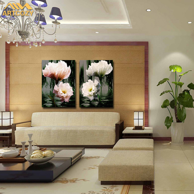 Artcozy 2 Piece Flower Top Decorative Wall Paintings For Home Decor Idea Oil Painting Art Print On Canvas Unframed Waterproof