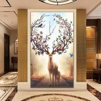 Home Beauty Diy Full Diamond Painting Embroidery Kits Crystal Rhinestone Deer Diamond Mosaic Gift Craft Home Paintings A6258