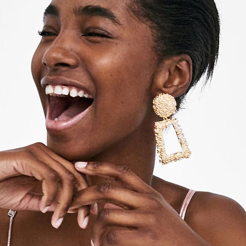 AENSOA Big Vintage Earrings For Women Fashion Geometric Metal Earrings Hanging Gold Silver Trend Imitation Statement ZA Jewelry