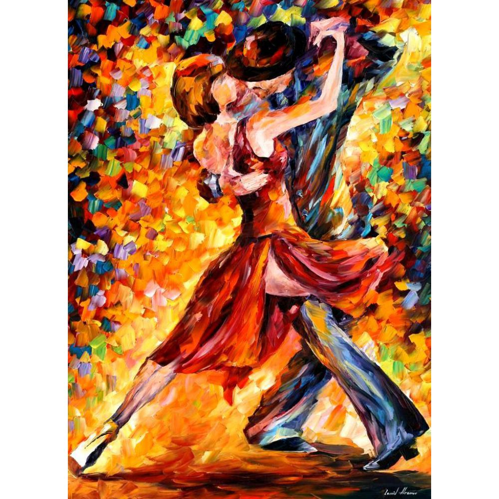 Handmade modern figure palette knife canvas oil paintings in the rhythm of tango for wall art home decor