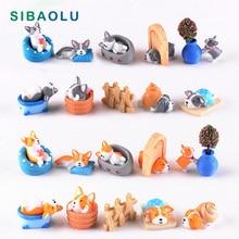Seaside Dog Miniature Figurine Holiday animal figure DIY Accessories Doll House Decoration Simulation cartoon models toy