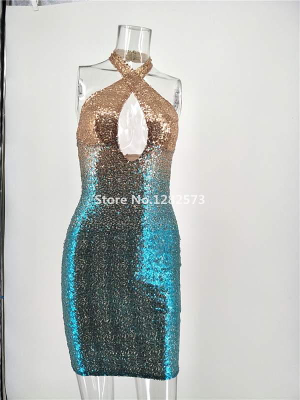 In Stock Sexy Halter Cocktail Dresses Mini Elegant Short Sequined Formal  Dress Cheap Simple Backless Sparkly Women Gown 7c9f8ac5f934