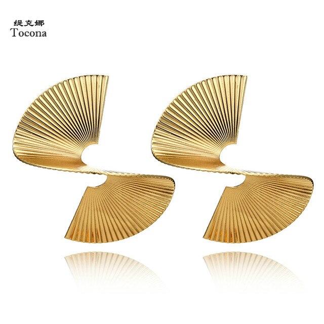 Tocona Punk torsadé métal goutte Dangle boucles d'oreilles géométrique spirale or argent alliage boucle d'oreille pour femmes bijoux Pendientes 5133